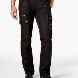 I.N.C. Men's Slim-Fit Stretch Black Cargo Jeans